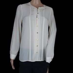 Joie Silk Button Down Pleat White Blouse Top